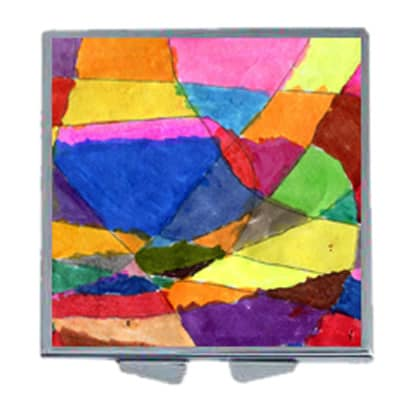 square mirror compact with artwork on lid
