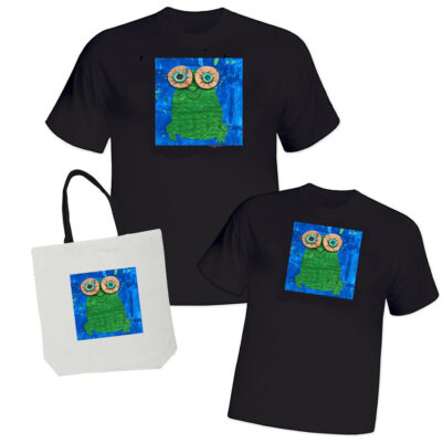 black adult t-shirt, black youth t-shirt, white tote bag all with custom artwork
