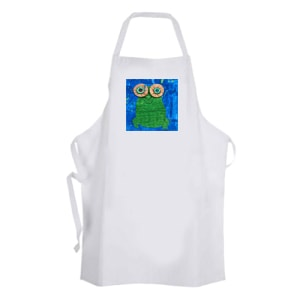 white apron with artwork