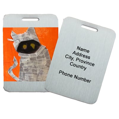 metal luggage tags showing artwork and personalization option
