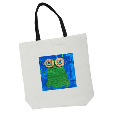 white tote bag with black handles and artwork